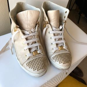 MK Leather Sneakers w Gold Metal Studs